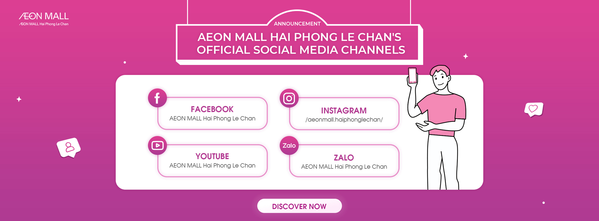 Announcement on the official social network channels of AEON MALL Hai Phong Le Chan